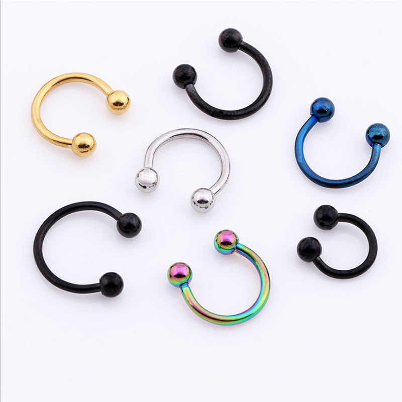 2pcs Colorful Steel Horseshoe Bar Lip Nose Septum Rings Ear Rings Body Piercing Pirsing 3 Sizes available