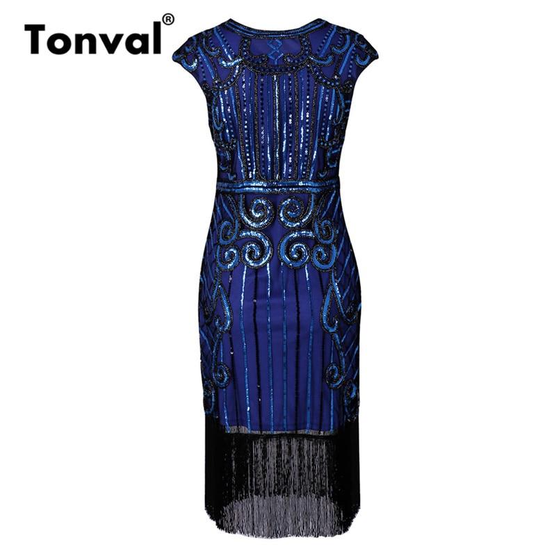 a6c81a081233b Tonval Sequin Inspired Flapper Dresses Cap Sleeve 1920s Vintage Mi...