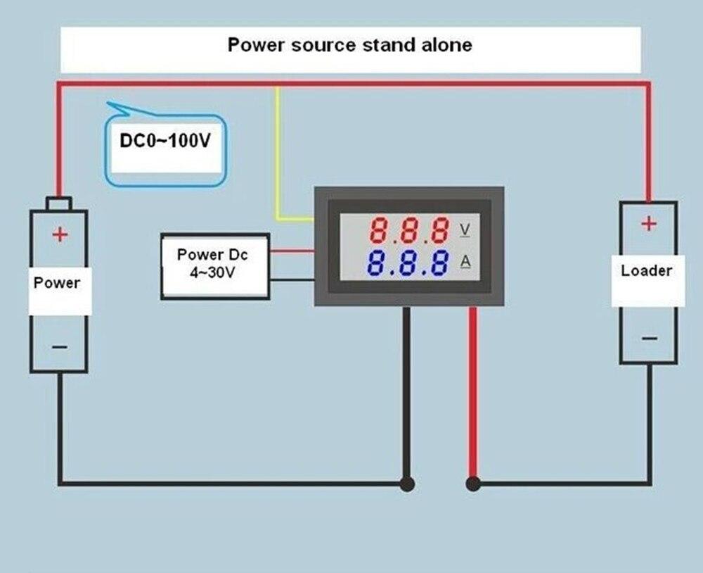 High Quality DC 100V 10A Voltmeter Ammeter Blue Red LED Amp Dual Digital Volt Meter Gauge High Quality DC 100V 10A Voltmeter Ammeter Blue + Red LED Amp Dual Digital Volt Meter Gauge