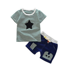 2019 Summer Kids Clothes Striped Pentagram Short Sleeve Shorts 2 Pcs/Set Baby Girls Boy For 0 - 4 Years Cotton Children Clothing