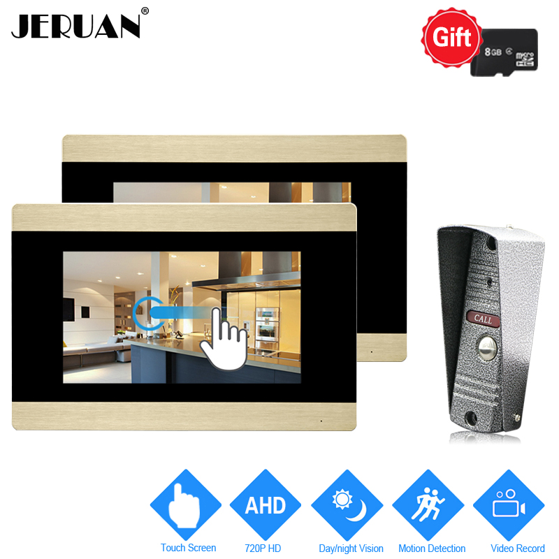 JERUAN 720P AHD HD Motion Detection 7`` Touch Screen Video Doorbell Door Phone Intercom System 2 Record Monitor + IR Mini Camera jeruan 720p ahd motion detection 7 touch screen video door phone doorbell intercom system 2 record monitor hd ir mini camera