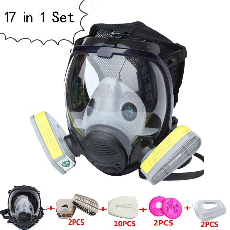 17 En 1 Juego Pintura Soldar Máscara De Gas Químico Respirador Filtros De Carbón Cartucho Igual Para 3 M 6800 Máscara De Gas De La Cara Llena Máscara Completa Buena Calidad