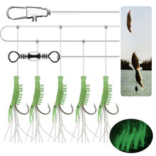 цена на 2bag Carbon Steel Leader Wire line Hook with Luminous shrimp 1.7m 1-6# Anti-bite With Swivel Fishing Accessor Steel Wire Hook