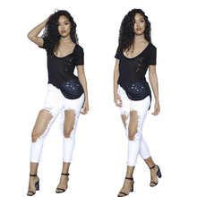 New summer hole female pencil pants fashion personality jeans sexy high waist womens casual ladies feet