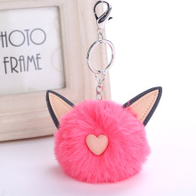 все цены на 2018 CHARM Cute Cat Ears Artificial Rabbit Fur Ball Keychain Keyring Pompom Handbag Pendant Car Key Chian Ring Holder Wholesale онлайн