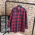 Outono/Inverno Quente Camisa Blusa Mulheres Plus Size 3XL 4XL Casual Solto Longo Turn-down Colarinho Camisas Xadrez KK2174