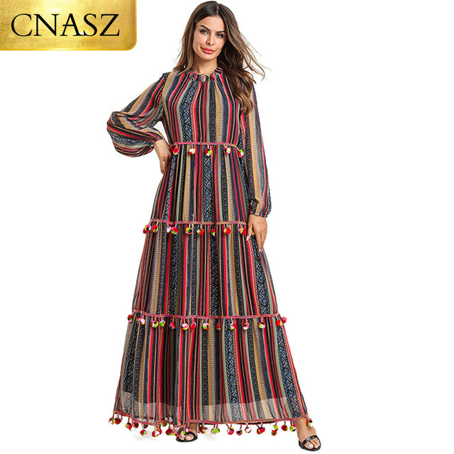 feffb997271 2019 Plus size muslim dresses Fashion Women Long Sleeve Print Casual Loose  abaya Party Long turkish dress