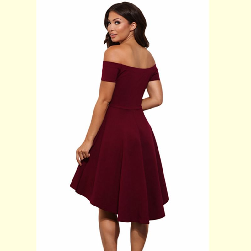 decbfd9a5f1b Summer Dress 2017 New Arrival Women Off Shoulder Party Dresses Burgundy  Black Blue Casual Elegant Vintage Midi Dress Vestidos