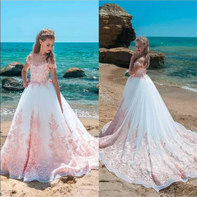 Pink Lace Appliques Luxury   Flower     Girl     Dress   For Elegant   Girl   Prom   Dress   Vestidos de Novia Sweep Train Custom Made Pageant Gowns