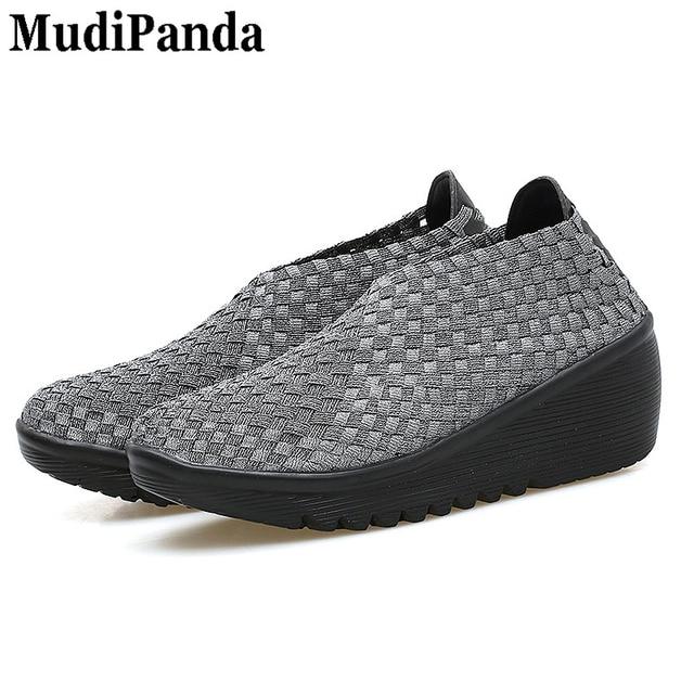 c37da6bd3aa3 MudiPanda Woven Wedges for women Summer Breathable new women s soft shoes  Ladies Black women platform sandals