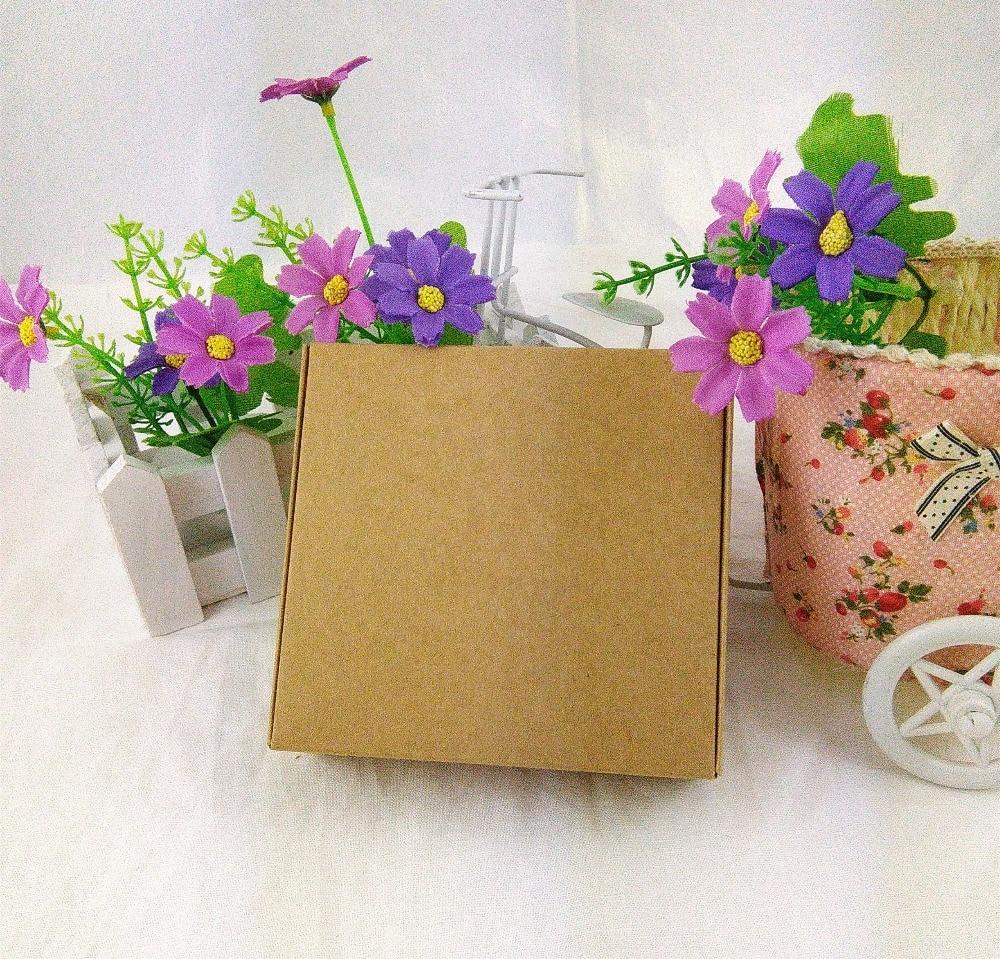 DIY Handmade Gift boxes 11.5x11x3.5cm Kraft Paper Gift box Blank Packaging Cardboard Box for Ornaments/Scarf/Tie 12PCS/Lot