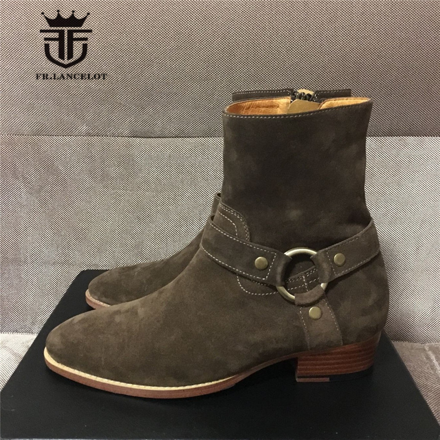 High End Customized Handmade Suede Leather Metal Ring Personalized Motorcycles Martin Boots With Ankle Strap Chelsea men's Boot high end handmade customized high top luxury demin boots men genuine leather personalized suede folds chelsea boots