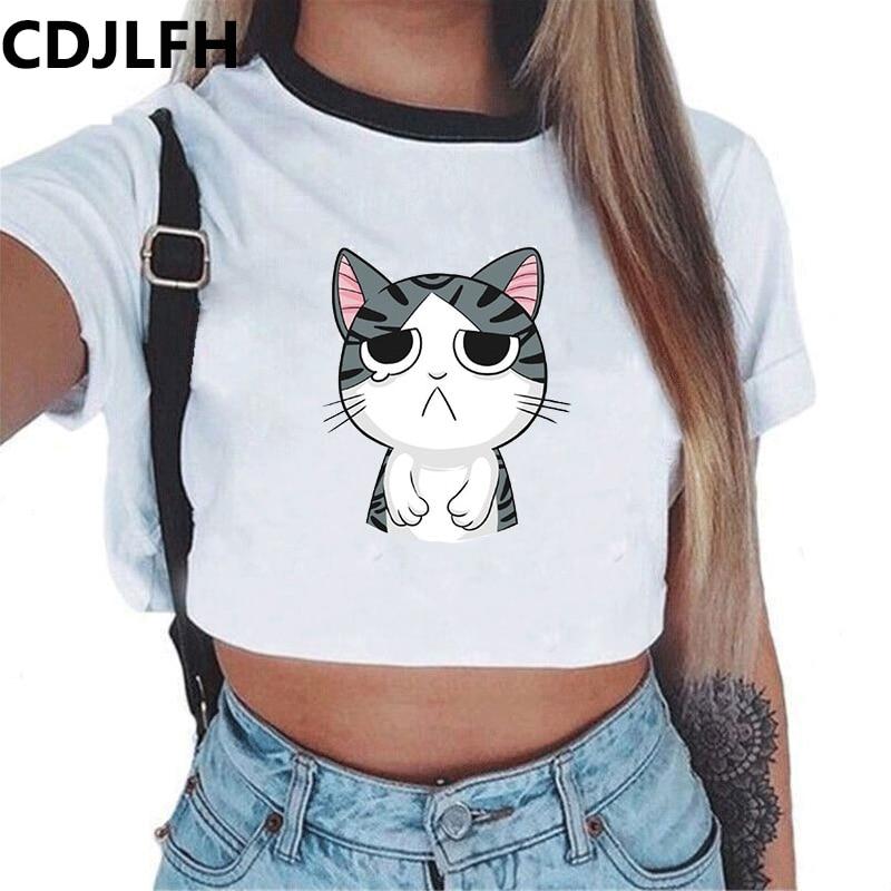 CDJLFH 2017 Summer Harajuku Short  Sleeves Women T Shirt Cat Print Style Loose Crop Tops Kawaii T-shirt Sexy Female Tee Tops