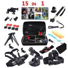 Goldfox 15 в 1 для GoPro Hero 5 4 3 Аксессуары комплект крепление для SJCAM SJ4000 для Xiaomi Yi камеры Экен H9 штатив автомобильное крепление