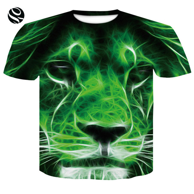 2018 Brand T-shirt Men Women 3d T-shirt Print Green Lion Summer Tees Shirts  Cool Fashion Tops T shirts street style men t-shirt e62caa3094