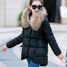2016 Winter Jacket Women's Parkas Large Fur Collar Thick Ladies Hooded Coat  Loose Long Section Fashion Female Irregular Woman