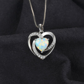 Heart Created Opal Pendant Sterling Silver Gemstone Statement Necklace  1