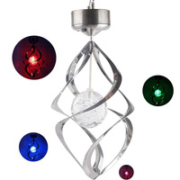 Hot Color Changing Solar Powered LED Wind Chimes Wind Spinner Outdoor Hanging Spiral Garden Light Courtyard Decoration