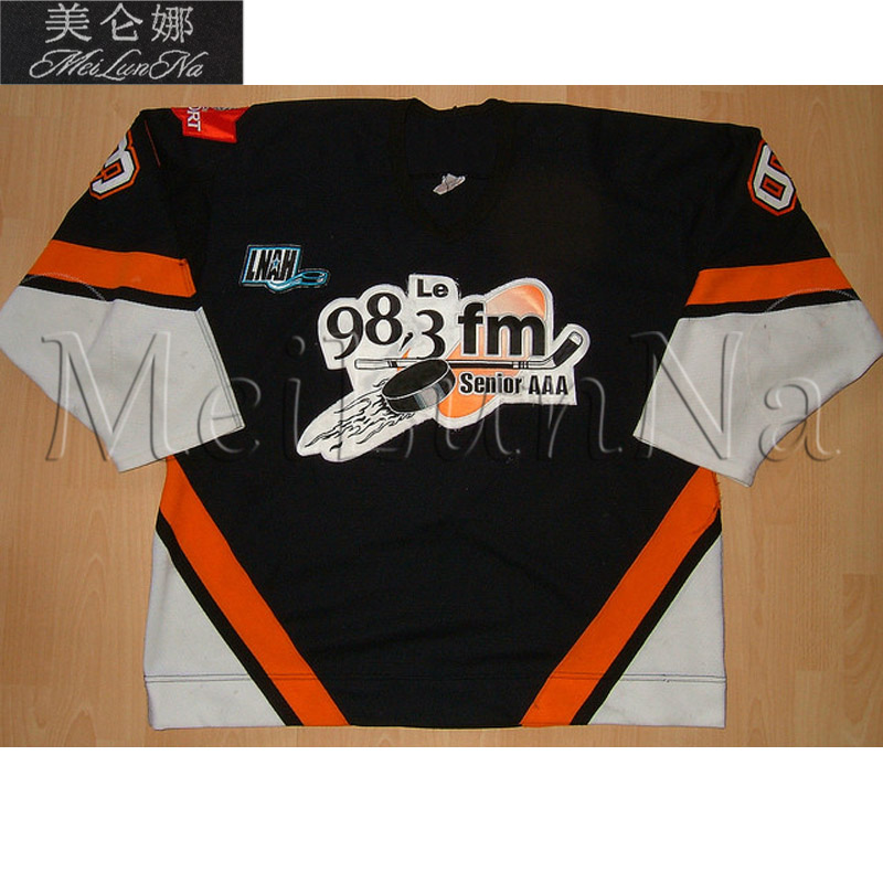 MeiLunNa Customize LNAH Saguenay 98.3 FM Hockey Jerseys Home Road White Black Sewn On Any Name NO. Size цена