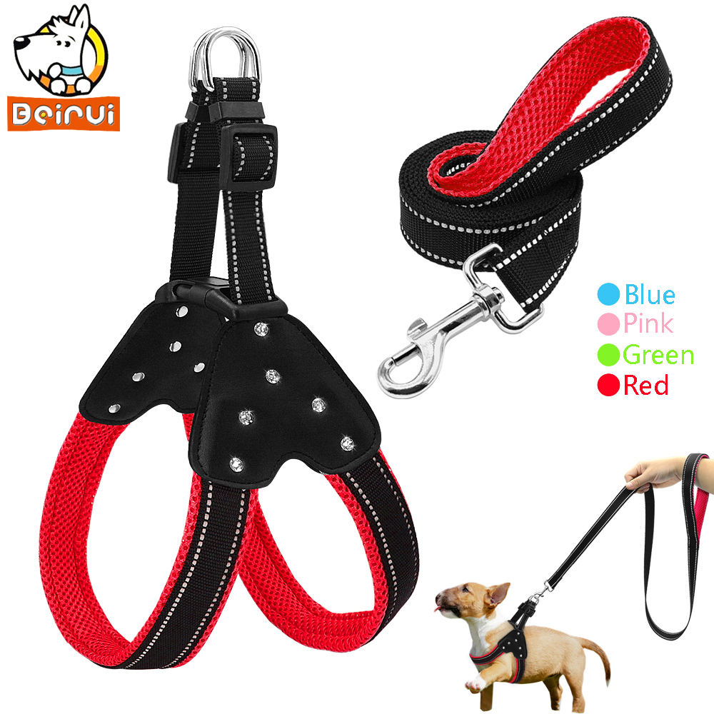 Reflective Mesh Dog Harness And Leash Set Nylon Step In