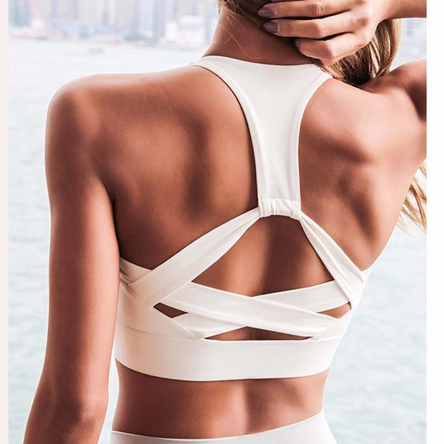 Women White Strap Push Up Sports Bra for Women Gym Running yoga top Bra Athletic Vest Hollow out Sportswear Underwear