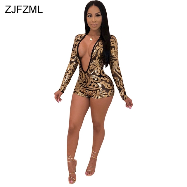 812118c6cff2 Glitter Gold Sequins Sexy Short Playsuit Women Deep V Neck Long Sleeve See  Through Jumpsuit Elegant Mesh Patchwork Party Overall