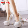 Pink sexy bombea los zapatos del partido para para 16 cm extreme high heels plataforma paillette zapatos bombas blancas negras de tacones azules D378