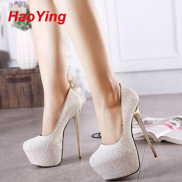 Rosa bombas sensuais sapatos de festa para as mulheres 16 cm extremas sapatos de salto alto paillette saltos plataforma bombas brancas azuis saltos pretos D378