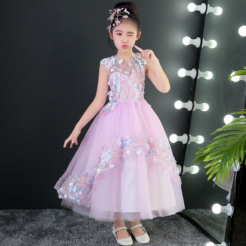 Pink Flower Girl Dress Long Appliques Children Ball Gown Sleeveless Kids Girl Princess Dress First Communion Dress Pageant A109 fashionable sleeveless sequins embellish multilayered flower spliced mini ball gown dress for girl