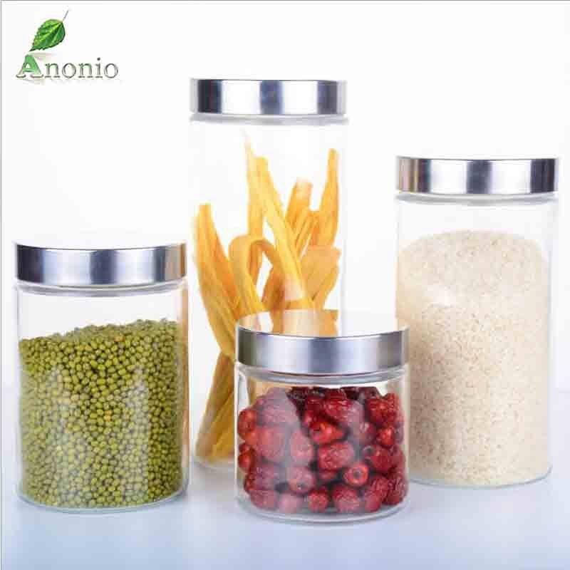 2PCS Transparent Glass Jars Seal Jars Grains Container Bottles Spice Jar Kitchen Storage Cans Glass Kitchen Storage S058C