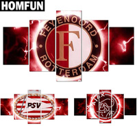 5pcs Full Square Round Drill 5D DIY Diamond Painting Football Logo Multi Picture Combination 3D Embroidery
