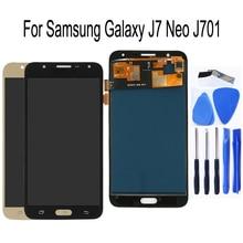 "5.5 ""AMOLED สำหรับ SAMSUNG Galaxy J7 จอแสดงผล LCD หน้าจอสัมผัส Digitzer เปลี่ยน J701F J701M J701MT J701 ซ่อม LCD ชุด"
