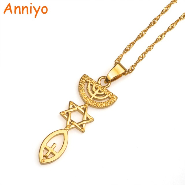 Anniyo Messianic Necklace Jewish Holy Land Menorah Hexagram Israel Jewelry Mogen David Gold Color Hanukiah/Chanukkiyah #005710