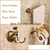 3pcs For One Set Antique Copper Bathroom Sets Include Robe Hook Paper Holder Towel Holder KF367