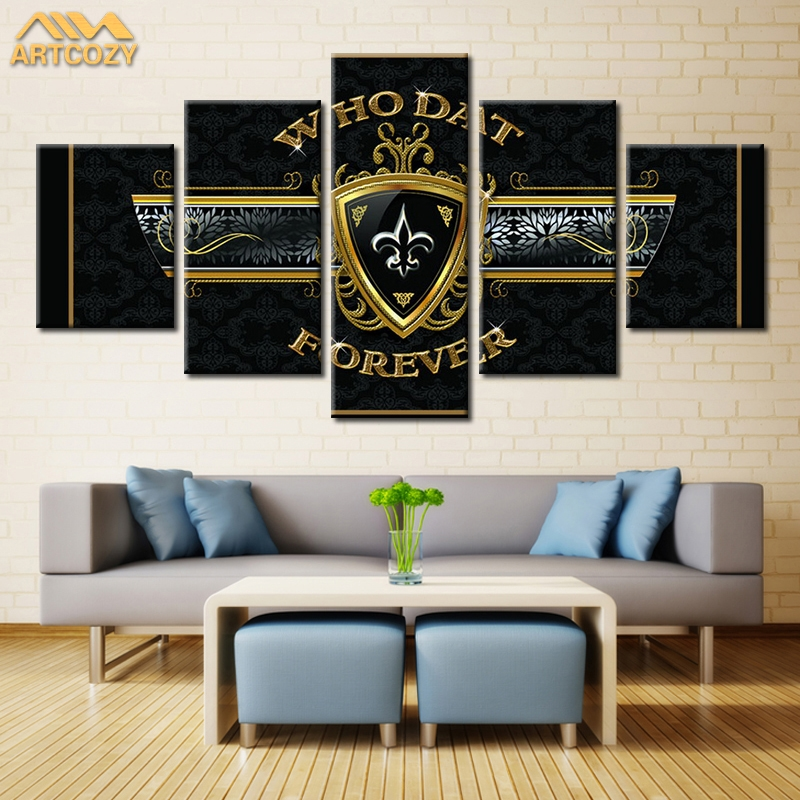 Artcozy 5 Panel Canvas Art Painting Spray Printings Who Dat Poster Classal Home Decorati ...