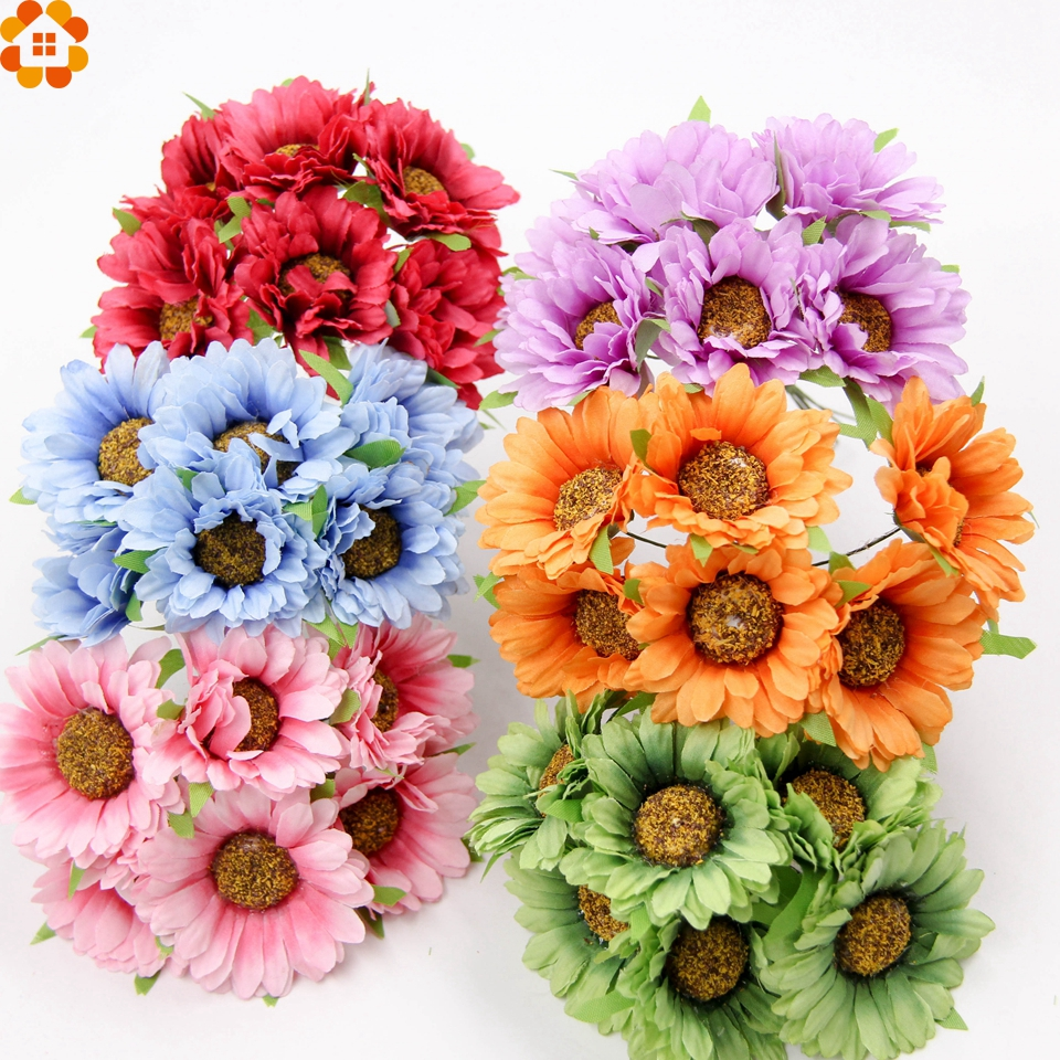 6 шт. искусственные DIY Цветы Поддельные Подсолнечника Скрапбукинг цветы букет для вечерние свадебные рукоделия декоративные цветы