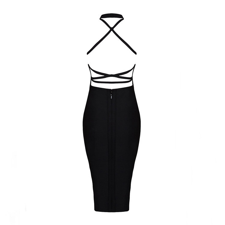 Nouveau Style Qualité Rayonne Sangle Haute Sexy Noir Moulante Halter 2016 Robe D'été Club De Bandage Croix Usine Hl BP4vqnp
