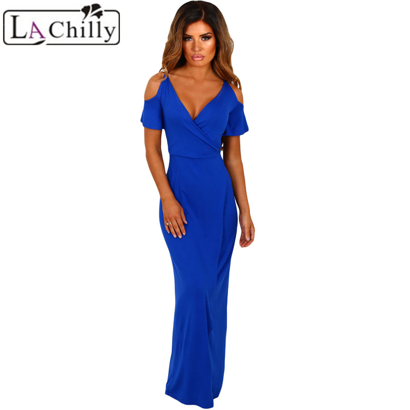 La Chilly Dress Party Evening Wine Cold Shoulder Long Jersey Dresses Autumn  Summer Dress Sexy Night