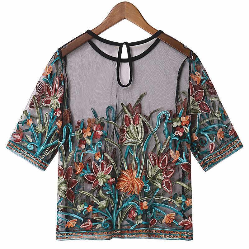 Vrouwen Dames Korte Mouw Mesh Ronde Hals Borduren Mesh Shorts Sexy T-shirt See Through Transparant Tops Lange T-Shirt
