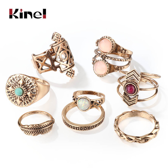 Kinel New Arrivals 8Pcs/Sets Opal Midi Ring For Women Antique Gold Beach Finger