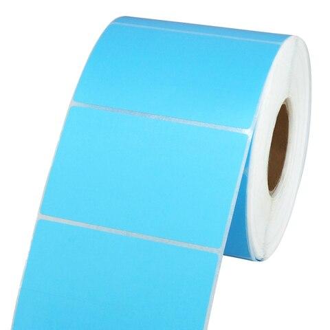 rolo de papel etiqueta 80x50mm 1000 etiquetas cor azul impressao de