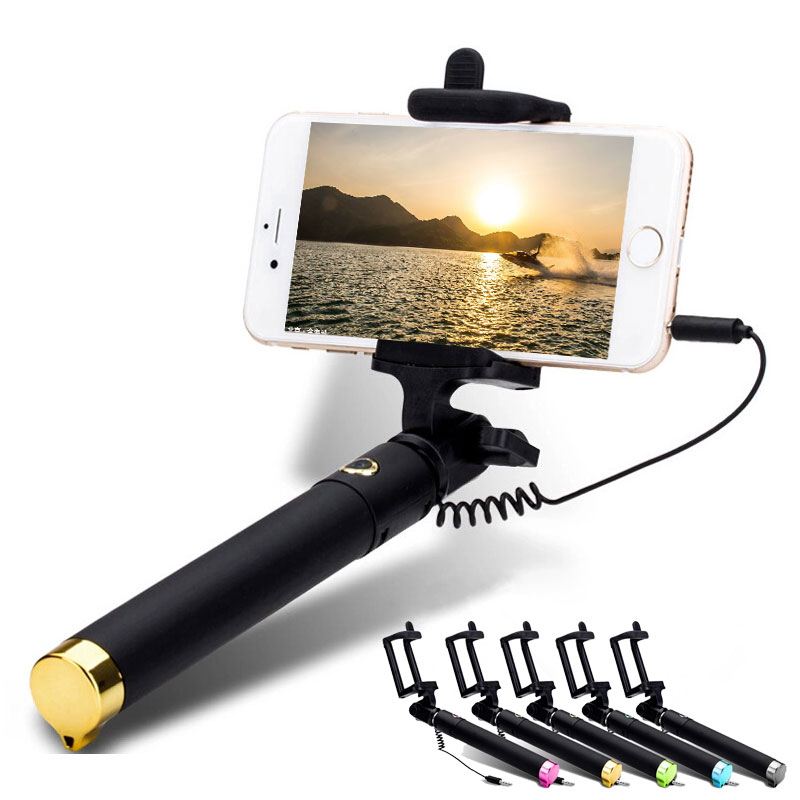 khp original portable wired selfie stick for iphone 4 4s 5 5s 6 6s 7 android. Black Bedroom Furniture Sets. Home Design Ideas