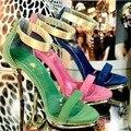 Ж-Бесплатная доставка Корейский горячей продажи сценическое шоу партия обуви женщин на высоких каблуках сандалии золотой каблук дамы летние каблуки zapatos mujer