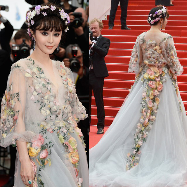 Fan Bingbing 2015 Cannes Red Carpet Celebrity Dresses Flowers Trumpet Deep V -Neck 3  9543a78c016c