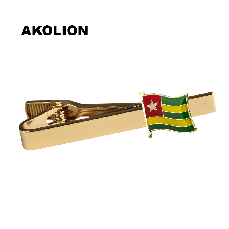 Tie Clip Togo Country Flag Metal Tie Pin Bar Clasp Clip Accessories For Men's Suit Wedding Gift KS-0051