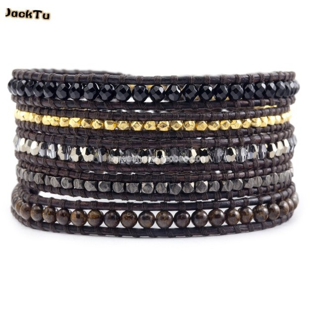 2017 natural bronzite onyx crystal mixed leather wrap bracelets