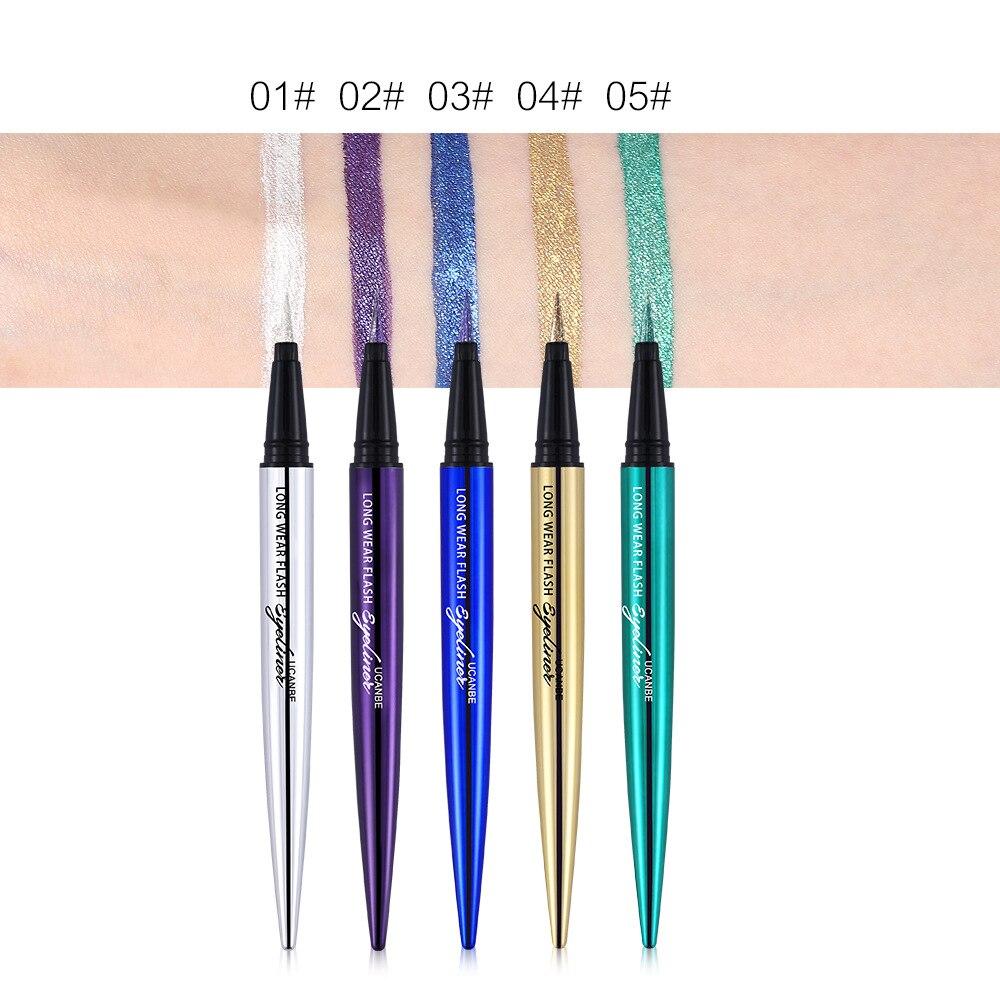 Ucanbe makeup glitter eyeliner pencil 5colors purple blue green eye liner waterproof long lasting liquid white eyeliner AU045 3