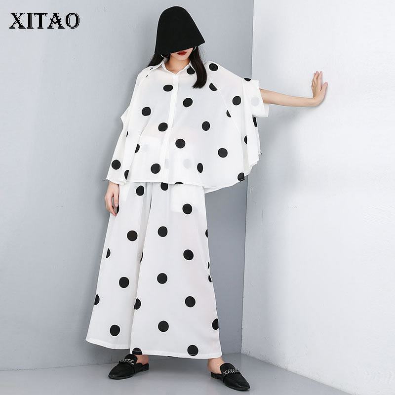 XITAO Two Piece Set Cross Border 2019 Summer Wave Point Cardigan Black Suit Top