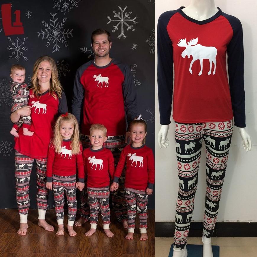 European and American Christmas Family Outfit Pajamas Set Family Matching Pajamas Set Deer Women Kids Adult Sleepwear Nightwear