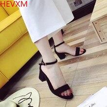 HEVXM 2017 новый дамы мода sexy пряжка черные высокие каблуки женщина случайные квадратный корень высокие каблуки створки насосы размер 34-40